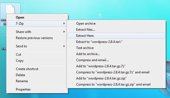 Screenshot of the 7-zip context menu in Windows 7
