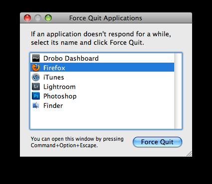 Screenshot of the Force Quit window