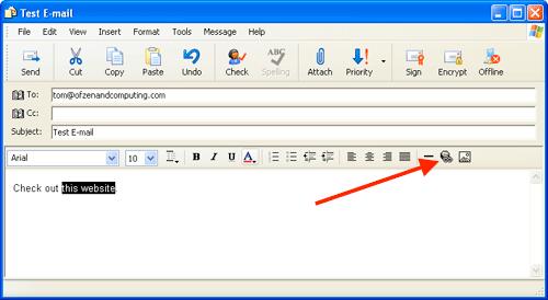 Outlook Express insert hyperlink menu