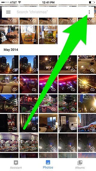 Screenshot of a grid of pictures and the Google Photos search toolbar at the top